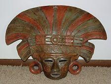 "XL Mayan Ceramic Terracotta Pottery Mask  of a High Priest / Shaman - 24"""