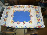 "VINTAGE TABLECLOTH FRUIT STRAWBERRY CHERRY APPLE BLUE SCROLL 70.75"" X 58"" PRINT"