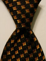 ERMENEGILDO ZEGNA Mens 100% Silk Necktie ITALY Luxury Geometric Black/Orange EUC