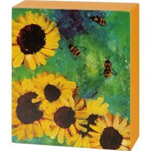 """New Bright Cheerful """"Honey Bee & Sunflower"""" Design  Box Sign"""