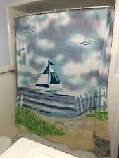Seaside Nautical Sailboat Boat Lighthouse Shower Curtain  Bath Decor