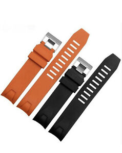 REPLACEMENT RUBBER STRAP FOR OMEGA PLANET OCEAN SEAMASTER BLACK ORANGE 20MM 22MM