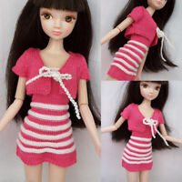 Pink Stripe Short Mini Dress Sweater Coat Dresses Outfit Costume For Barbie Doll