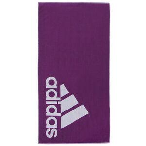 Adidas Large Cotton Towel Sports Training Gym Yoga Beach Swim Pool Purple FJ4777