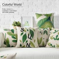 "Plant Green Leaves Plants Letters Linen Pillow Case Decorative Cushion Cover 18"""