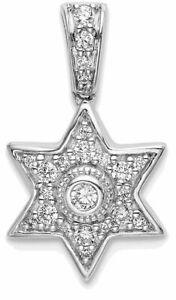14k White Gold Diamond Six Pointed Star Pendant PM6606-020-WA