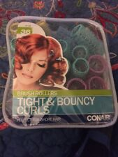 Conair Tight & Bouncy Curls Brush Rollers 36 Rollers with Pins #61146 Short Hair