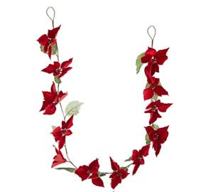 180cm Festive Red Velvet Poinsettia Garland - Christmas
