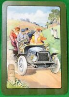 Playing Cards 1 Single Card Old Antique Wide Motor Car BONNET GIRL LADY Driving