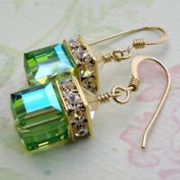 European and American 14K Gold-Plated Emerald Cubic Earrings and jewelry