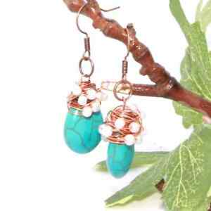 HANDMADE TURQUOISE WIRE WRAPPED EARRING, HANDCRAFTED  EARRING FOR WOMEN'S