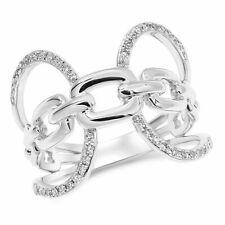 "14k White Gold ""x"" Diamond Negative Space Ring"