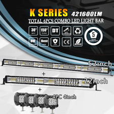 """52Inch 2720W LED Light Bar Combo + 22"""" +4"""" CREE PODS OFFROAD SUV 4WD Ford 50/20"""""""