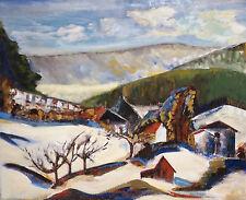 Socialiste Expressionnisme: Paysage hivernal Orig. ancien Peinture à l'huile
