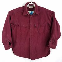 Vtg LL Bean USA Made Burgundy Red Chamois Flannel Button Front Shirt, Mens Large