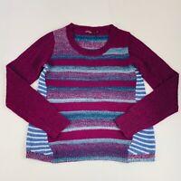 PrAna Women's Size Large Pullover Sweater Purple Blue White Striped Long Sleeve