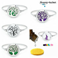 Tree of Life Perfume Bangle Bracelet Oil Diffuser Essential Aromatherapy Locket