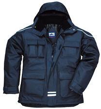 Multi-Pocket Parka Work Jacket Rain Coat Waterproof Hardwearing Rainwear S563