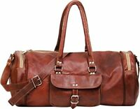 Bag Leather Duffel Travel Men Luggage Gym Vintage Genuine Weekend Overnight New""