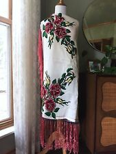 Antique Piano Shawl Floral Hungarian Silk Fringe Embroidered Vintage Roses