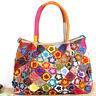 Women Cowhide Leather Handbag Floral Patchwork Crossbody Tote Sling Shoulder Bag
