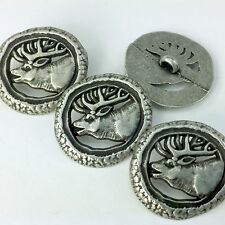 Silver Coloured Metal Stag design Buttons, Round 25mm diameter,  per 1 button