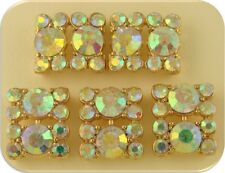 2 Hole Beads Crystal Squares Clear Aurora Borealis Swarovski Elements GOLD QTY 5
