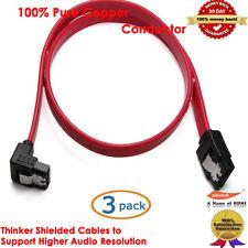 YellowKnife Latching SATA to Right Angle SATA Serial ATA Cable, 3 Packs