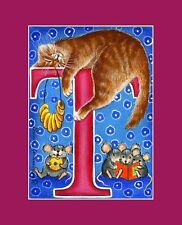 "Alphabet Cat ACEO Print Letter ""T"" by I Garmashova"