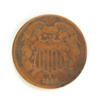 Raw 1865 Two Cent 2C Uncertified Ungraded Circulated Two Cent US Copper Coin