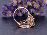 2CTRound Morganite 14k Rose Gold Over Diamond Engagement Wedding Bridal Ring Set
