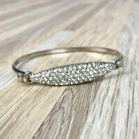 Jessica Simpson Clear Rhinestone Silver Bracelet