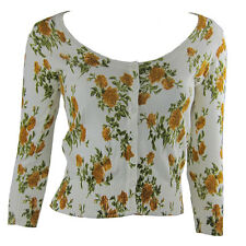 Women's Ladies 3/4 Sleeve Button Up White Thin Floral Jacket Cropped Size S
