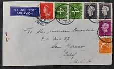 Netherlands 1948 Multistamp Airmail Cover Voorburg to US Consulate, Cali., USA