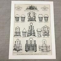1880 Originale Vittoriano Pubblicità Stampa Ghiaccio Secchio Aceto Bottiglie