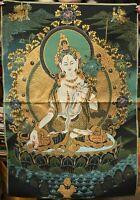 """36"""" Tibet Cloth Silk Buddhism 7 Eyes White Tara Thangka Tangka Mural Painting"""