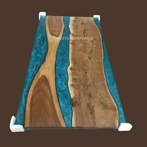 Custom Epoxy Table, Live Edge Epoxy Blue Resin Table Top Made to Order Decor