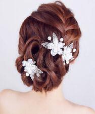 NEU Haarschmuck Haarspange Perle Kristall Blätte Blumen Hochzeit Braut