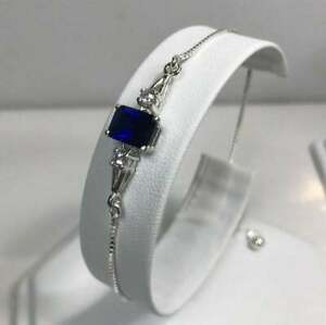 4Ct Emerald Cut Blue Sapphire & Diamond 14K White Gold Finish Women's Bracelet