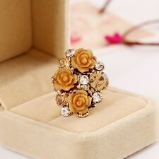 1PC Cute Fashion Resin Roses Flower Adjustable Ring Rhinestone Ring