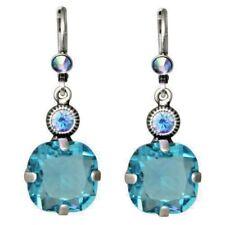 Kirks Folly Fairy Twinkle Leverback Earrings Silvertone Austrian Crystal in Aqua