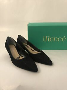 NEW J. Renee Black Glitter Slingback Heels  Formal Shoes size 7M