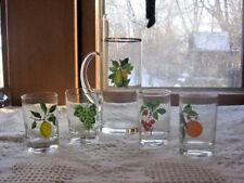 Vintage Fruit Pattern Glass Pitcher And Glassware Set