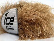 38Yd Light Camel Extra Long Eyelash Yarn Ice Luxurious New Fun Fur 42067 50 Gram