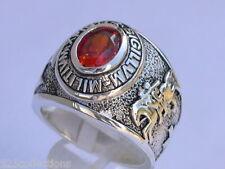 925 Sterling Silver January Garnet Birthstone Knights Templar Men Ring Size 10