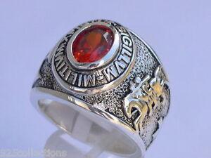 925 Sterling Silver January Garnet Birthstone Knights Templar Men Ring Size 8