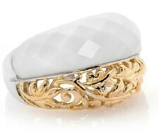 Victoria Wieck SS Faceted White Agate and Filigree 2 Tone Band Vermeil Ring Sz 6
