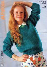 "~ Patons Knitting Pattern For Child's Brushed Chunky V-Neck Jumper ~ 24"" ~ 32"""