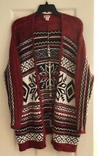 MOSSIMO NWOT  FLOWY LONG OPEN CARDIGAN SWEATER RED WHITE BLACK SIZE XS