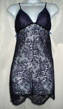 Victoria's Secret Dark Purple Sheer Lace Very Sexy Nightgown Babydoll L